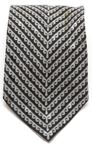 BRIONI Silk Tie Necktie Black Silver Gold - Evesherfashion
