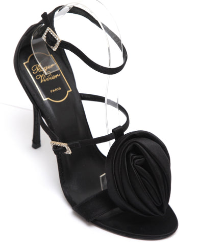 ROGER VIVIER Black Satin Sandal Leather T-Strap Crystals Double Buckle Sz 38 - Evesherfashion