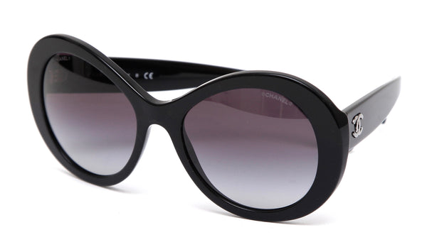 CHANEL Black Sunglasses Acetate Frame Grey Gradient Lens 5372 - Evesherfashion