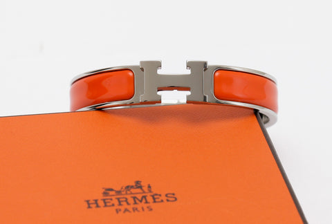 HERMES Bracelet Clic Clac H Narrow Orange Enamel Palladium Cuff PM - Evesherfashion