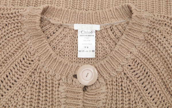 CHLOE Cardigan Sweater Knit Top Tan Cotton Cropped Long Sleeve Sz S 2008 - Evesherfashion