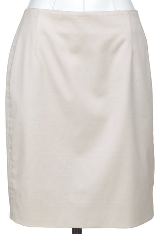 AKRIS PUNTO Skirt Dress Straight Cotton Beige Clothing US 8 FR 40 - Evesherfashion