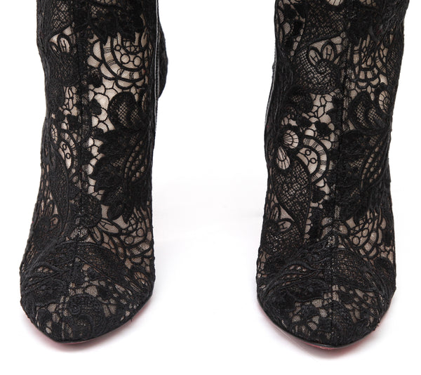 CHRISTIAN LOUBOUTIN Black Boot Tall TENNISSINA Lace Floral 100mm Knee High 38 - Evesherfashion
