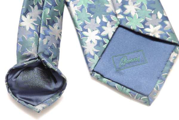 BRIONI Silk Tie Necktie Blue Green Silver - Evesherfashion