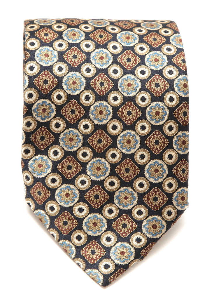 BRIONI Silk Tie Necktie Black Gold Blue - Evesherfashion