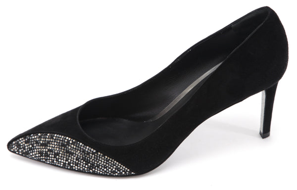 RENE CAOVILLA Black Suede Pump Crystal Pointed Toe Heel Sz 40 - Evesherfashion