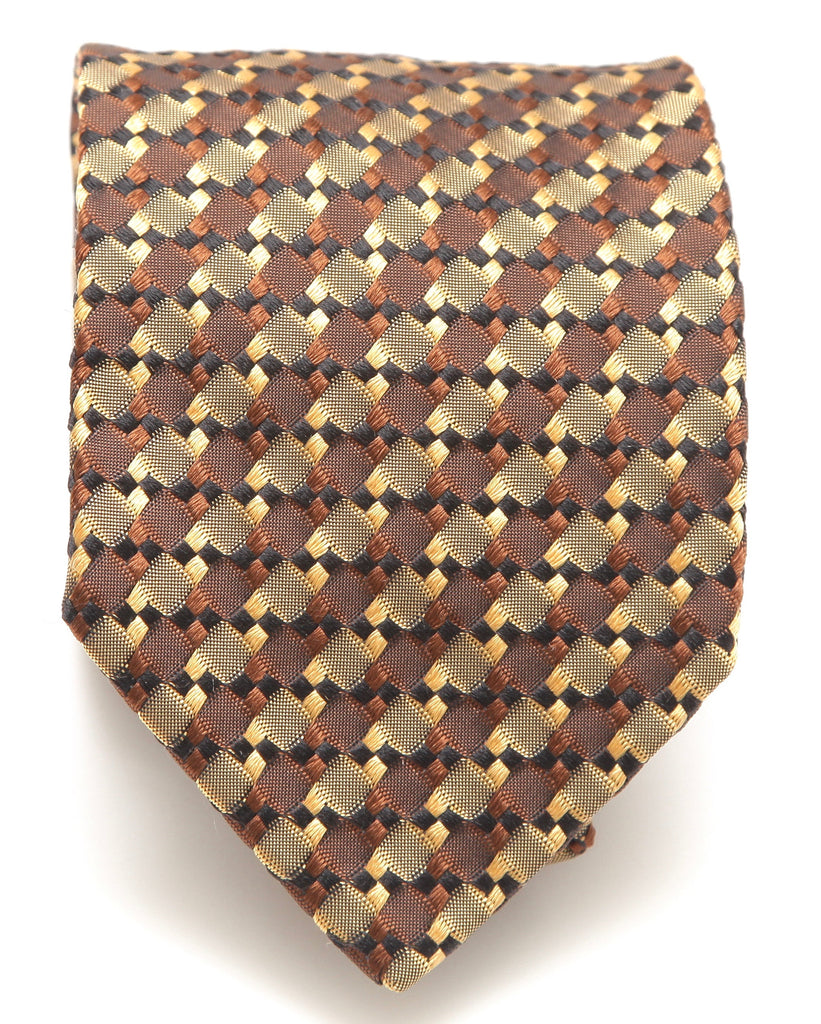 BRIONI Silk Tie Necktie Brown Black Gold - Evesherfashion