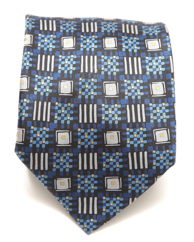 BRIONI Silk Tie Necktie Blue Gold - Evesherfashion