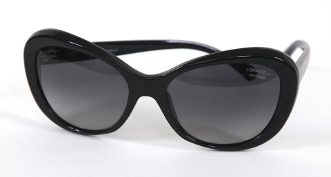 CHANEL Black Sunglasses Acetate Frame Camellia Gradient Lens 5246 - Evesherfashion