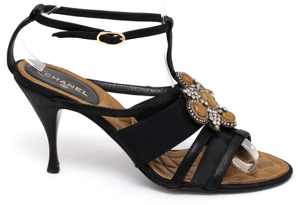 CHANEL Leather Sandal Black Gold Grosgrain Crystal Quilted Heel Shoe 39.5 - Evesherfashion