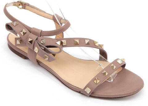 VALENTINO Leather Sandal Nude Gold ROCKSTUD Bow Flat Ankle Strap Slide Sz 37 - Evesherfashion