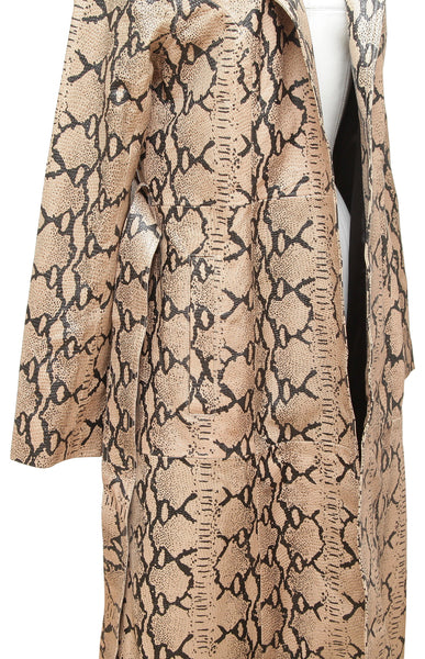 LPA Coat Leather Jacket TRENCH 415 Animal Print Embossed Long Open Tie Sz M - Evesherfashion