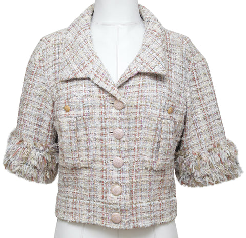 CHANEL Tweed Jacket Blazer Fantasy Multi-Color Cropped 2013 RUNWAY SZ 38 - Evesherfashion