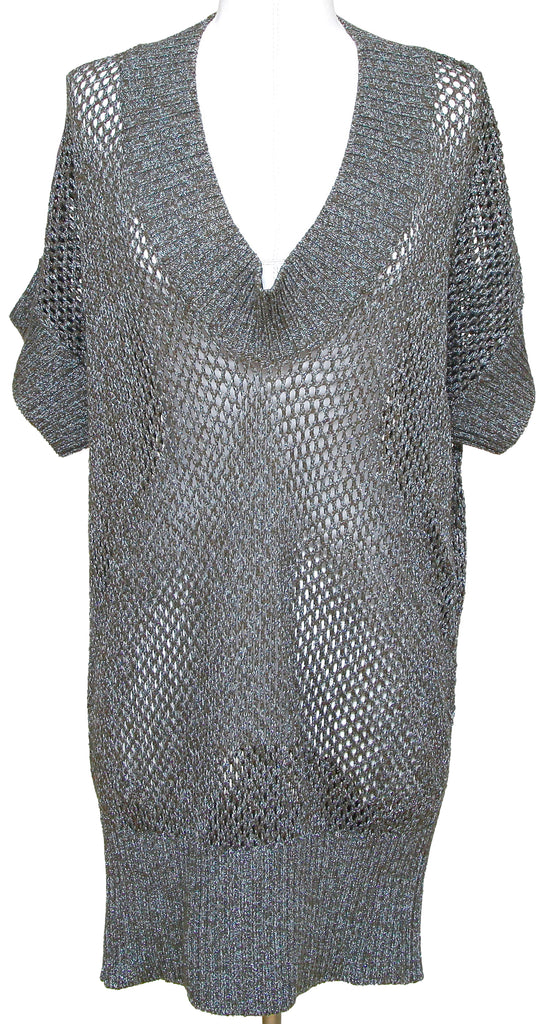 STELLA MCCARTNEY Tunic Knit Sweater Metallic Blue V-Neck Long Cotton Blend Sz 38 - Evesherfashion