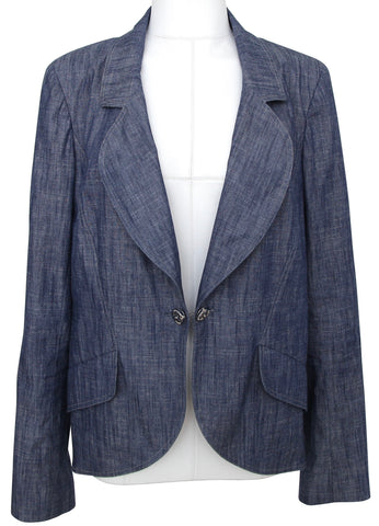CHANEL Blazer Jacket Blue Denim Silver Classic Dress Cotton Sz 2009 09C - Evesherfashion