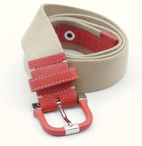 TOD'S Belt Canvas Leather Orange Silver HW Belt Khaki Beige Stitching - Evesherfashion