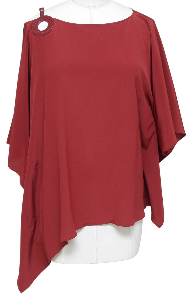 LORO PIANA Silk Blouse Top Shirt Draped Sleeve Rust Red Brown Leather Sz M - Evesherfashion