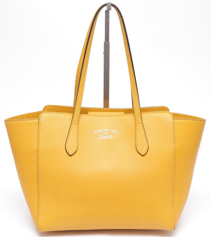 GUCCI Yellow Small SWING Pebbled Leather Tote Bag Gold-Tone HW - Evesherfashion