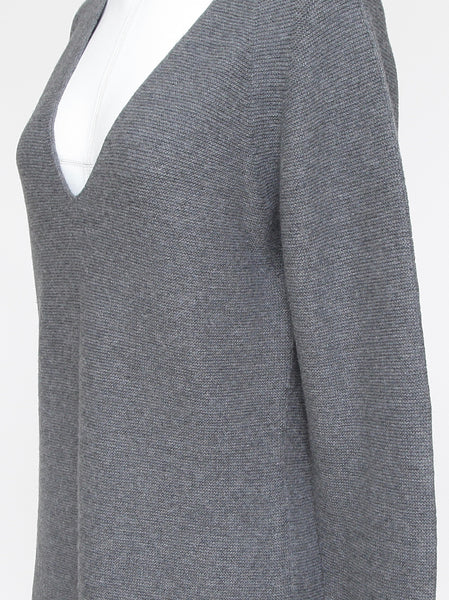 WOLFORD Cashmere Sweater Knit Top Grey Pullover Long Sleeve Sz L - Evesherfashion