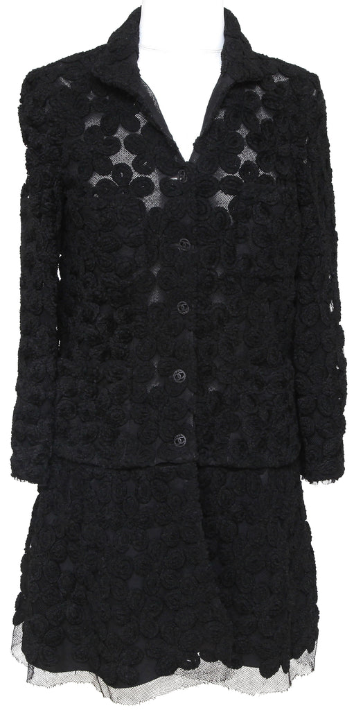 CHANEL Cardigan Knit Sweater 2pc Floral Camellia Lace Button Long Sleeve XS RARE - Evesherfashion