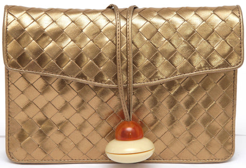 BOTTEGA VENETA Gold Leather Crossbody Bag Intrecciato Flap Woven VINTAGE - Evesherfashion