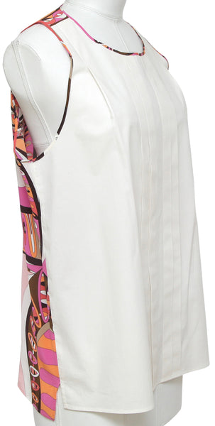 EMILIO PUCCI Top Blouse Sleeveless White Pink Multicolor US 8 F 38 - Evesherfashion