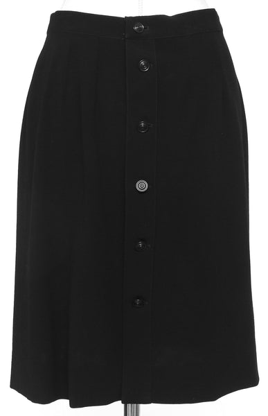 CHANEL Skirt Dress Black Pleated Buttons Knee Length A-Line Vintage XS - Evesherfashion