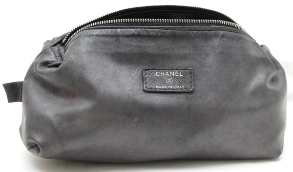 CHANEL Black Leather Bag Travel Case Pouch Makeup Top Zipper - Evesherfashion