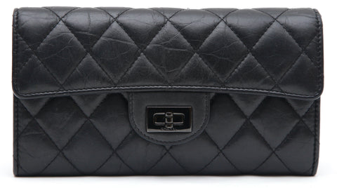 CHANEL Black Leather Wallet Flap SO BLACK REISSUE Quilted Aged Calfskin 2018 - Evesherfashion