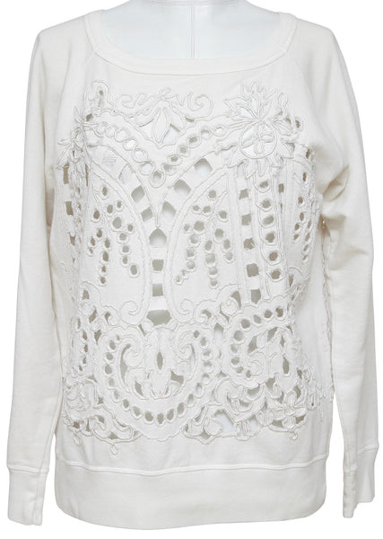 DRIES VAN NOTEN White Sweater Embroidery Cutout Long Sleeve M - Evesherfashion