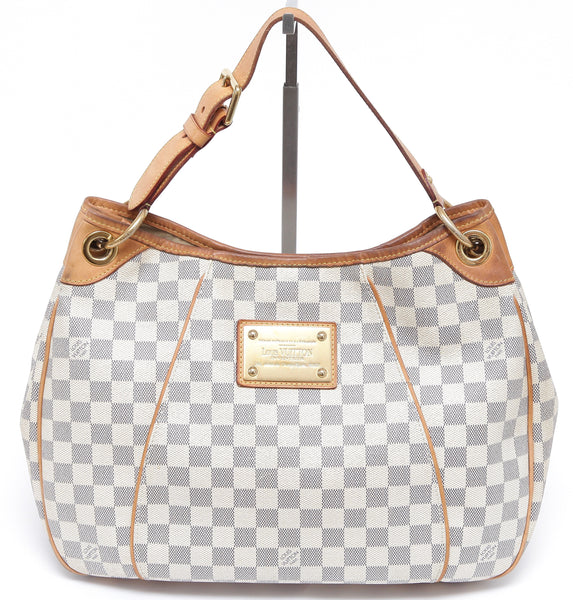 LOUIS VUITTON DAMIER AZUR Shoulder Bag GALLIERA PM Canvas Gold HW Leather - Evesherfashion