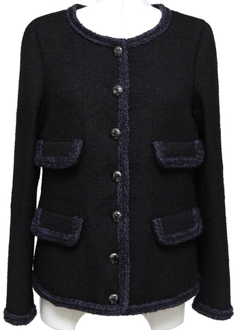 CHANEL Black Jacket Blazer Tweed Navy Braid Dress Button Pocket Fall 2013 Sz 38 - Evesherfashion