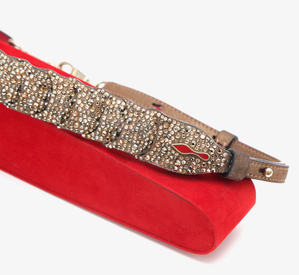 CHRISTIAN LOUBOUTIN Bag Shoulder Strap ARTEMIS Crystals Suede Red Leather LTD - Evesherfashion