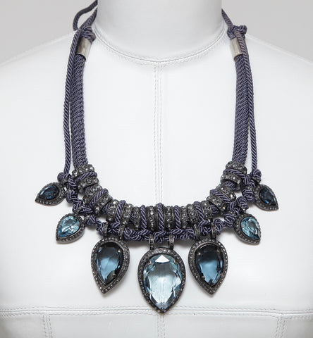 LANVIN Necklace Choker Crystal Faceted Blue Grey Cord Pewter Brass Tie Jewelry - Evesherfashion