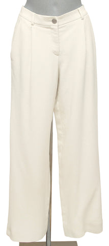 CHANEL Pant Dress Trouser Ivory Wide Leg Zipper Pockets Silver Sz 38 - Evesherfashion