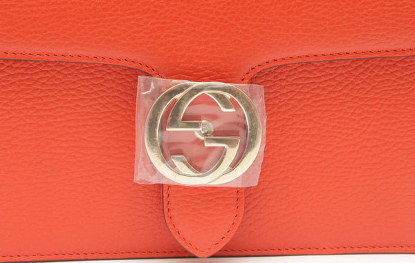 GUCCI Leather Shoulder Bag Crossbody Orange Interlocking GG Gold HW Chain NEW - Evesherfashion