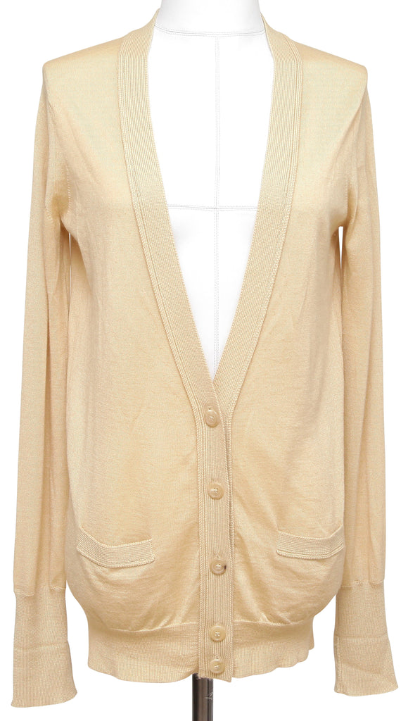 CHLOE Cardigan Sweater Knit Cashmere Silk V-Neck Beige Long Sleeve S - Evesherfashion