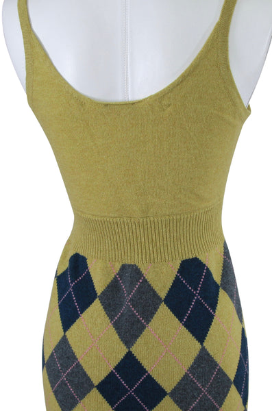 CHANEL EDINBURGH Sweater Dress Knit Sleeveless Lime Green Multicolor S34 2013 13 - Evesherfashion