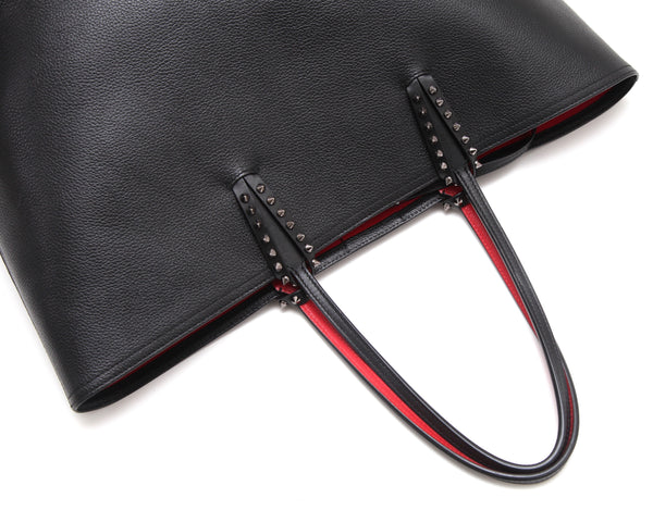 CHRISTIAN LOUBOUTIN Black Leather Tote CABATA Pouch Gunmetal Spikes Red Lining - Evesherfashion