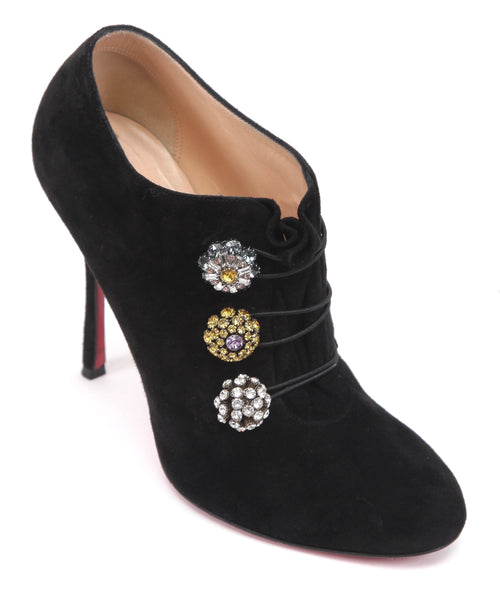 CHRISTIAN LOUBOUTIN Black Suede Ankle Boot BOOTONI MJ Leather Crystals Sz 38 - Evesherfashion