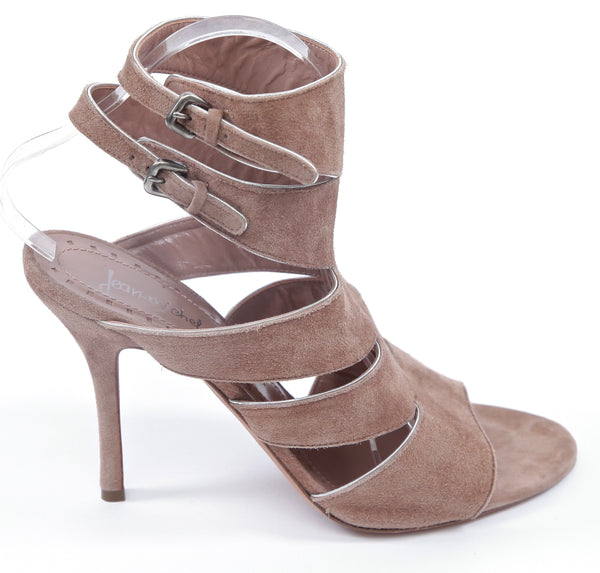 JEAN-MICHEL CAZABAT Suede Leather Sandal Rose Silver Gladiator Sz 40 - Evesherfashion