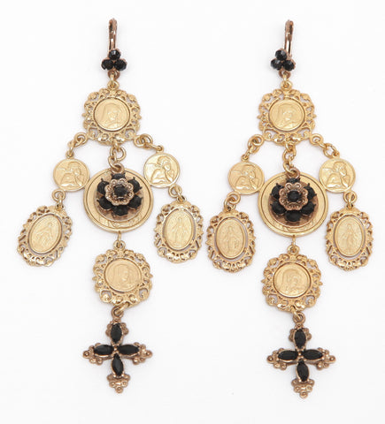 DOLCE & GABBANA Chandelier Earrings Gold-Tone Black Crystals Pierced - Evesherfashion