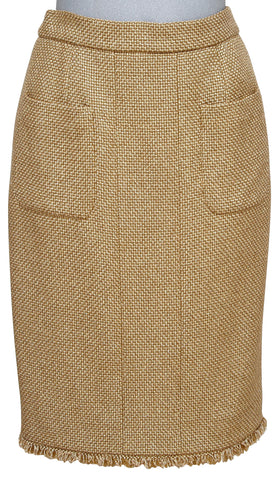 CHANEL Gold Tweed Skirt Metallic CC Buttons Fringe Vent Sz 38 Cruise 2013 RUNWAY - Evesherfashion