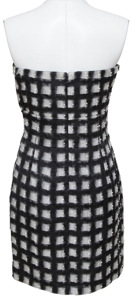 CHANEL Strapless Dress Pearls Black Checkered White RUNWAY 2013 Sz 38 - Evesherfashion