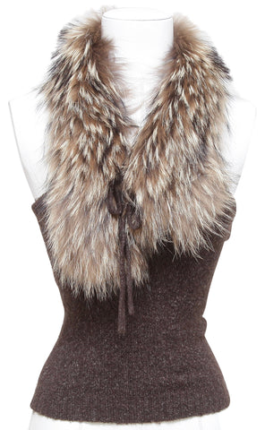 BCBGMAXAZRIA Sleeveless Brown Melange Sweater Knit Wool Fur XS - Evesherfashion