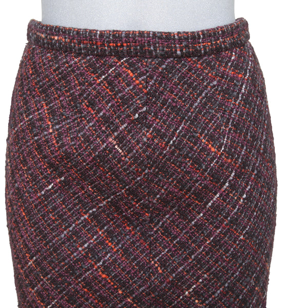 DOLCE & GABBANA Tweed Skirt Knee Length Multicolor Leopard Print Sz 42 - Evesherfashion