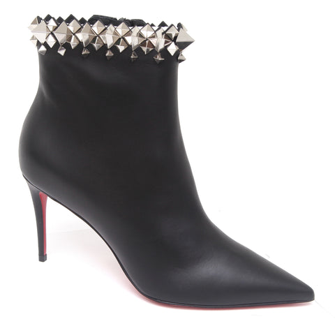 CHRISTIAN LOUBOUTIN Black Leather Ankle Boot FIRMAMMA 85 Silver Studded Sz 38 - Evesherfashion