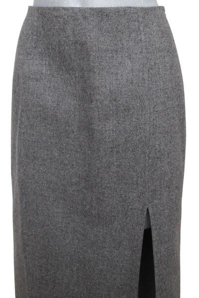 MICHAEL KORS Wool Skirt Grey Pencil Straight Slit Sz 4 MADE IN ITALY - Evesherfashion