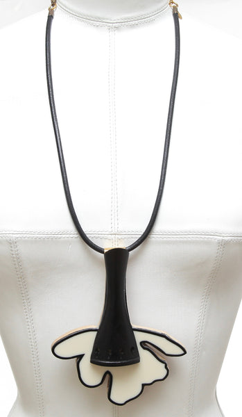 MARNI Necklace Collar Black Ivory Leather Gold Tone Chain - Evesherfashion
