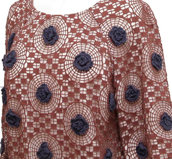 TORY BURCH Top Blouse 3/4 Sleeve Crochet Knit Brown Navy Blue Floral Sz 6 - Evesherfashion
